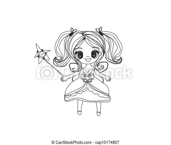 beautiful fairy with magic wand - csp10174807