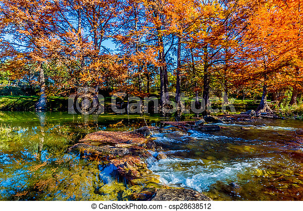 Beautiful Fall Trees on River - csp28638512