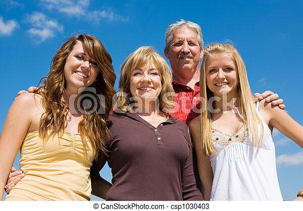 Beautiful Family & Blue Sky - csp1030403