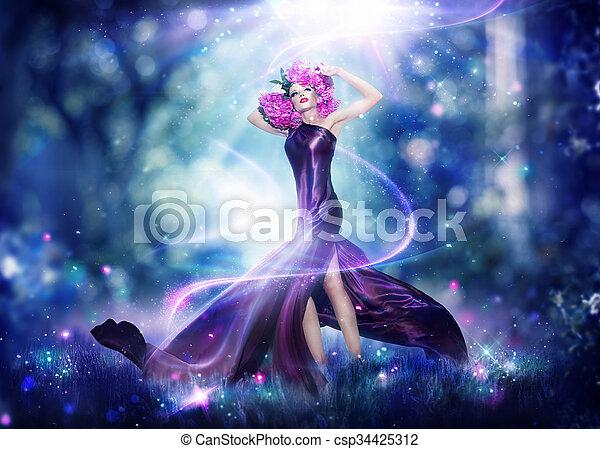 Beautiful fantasy fairy woman, Fashion art portrait - csp34425312