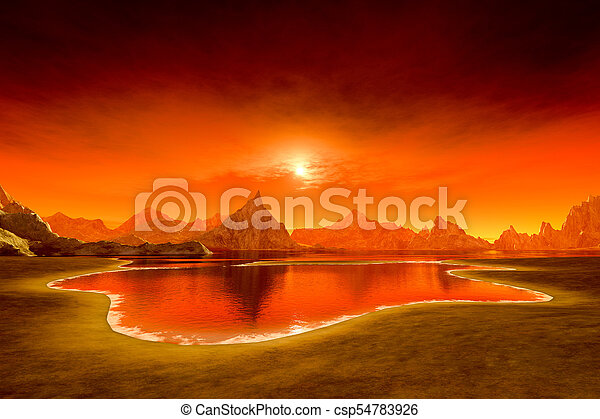beautiful fantasy sunset over the ocean - csp54783926