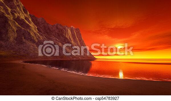 beautiful fantasy sunset over the ocean - csp54783927