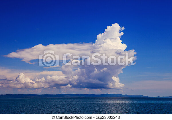beautiful fantasy white cloud on blue sky use as natural backgro - csp23002243