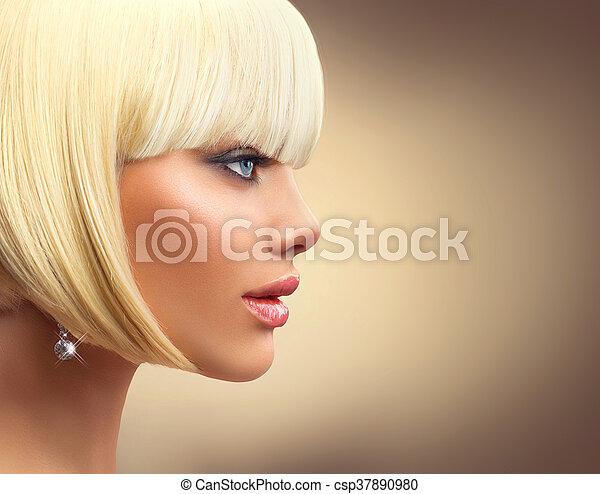 Beautiful fashion blonde woman with bob haircut. Fringe hairstyle - csp37890980