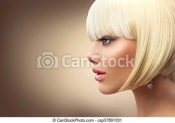 Beautiful fashion blonde woman with bob haircut. Fringe hairstyle - csp37891031