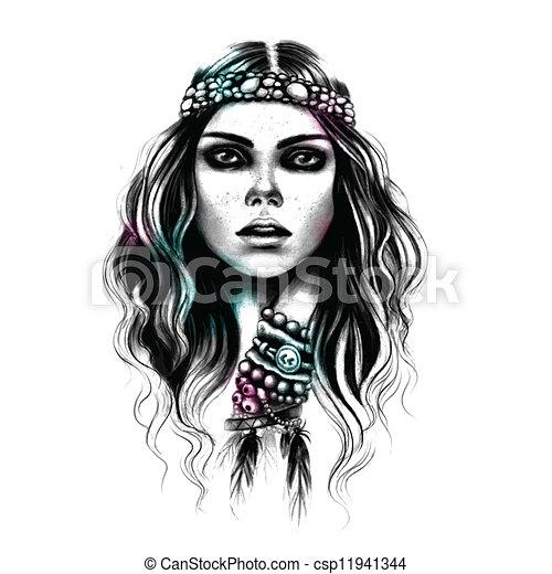 Beautiful Fashion girl with the jewelry - csp11941344