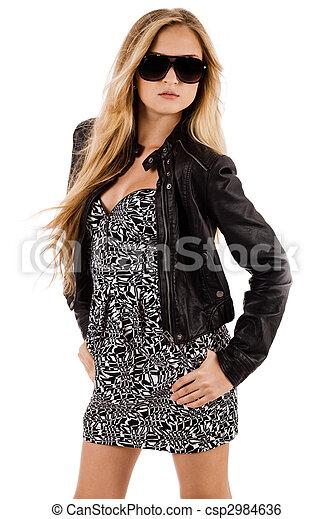 Beautiful fashion model wearing long dress - csp2984636