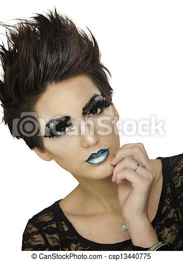 Beautiful fashion model with short  - csp13440775