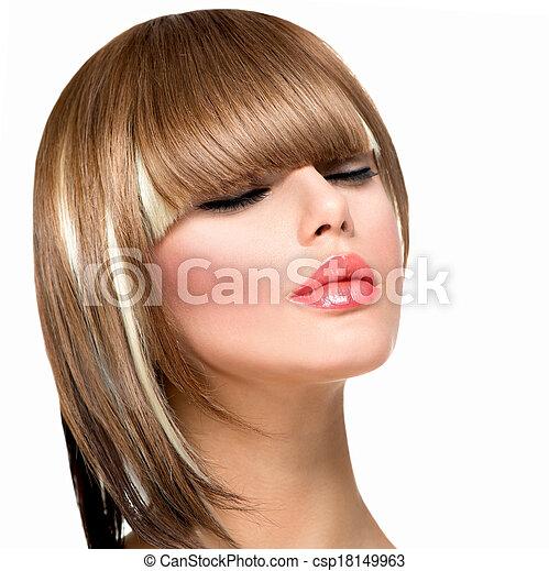 Beautiful Fashion Woman Hairstyle for Short Hair. Fringe Haircut  - csp18149963