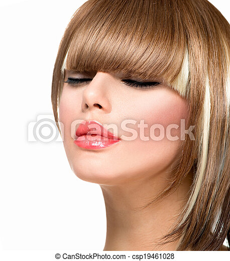 Beautiful Fashion Woman Hairstyle for Short Hair. Fringe Haircut - csp19461028