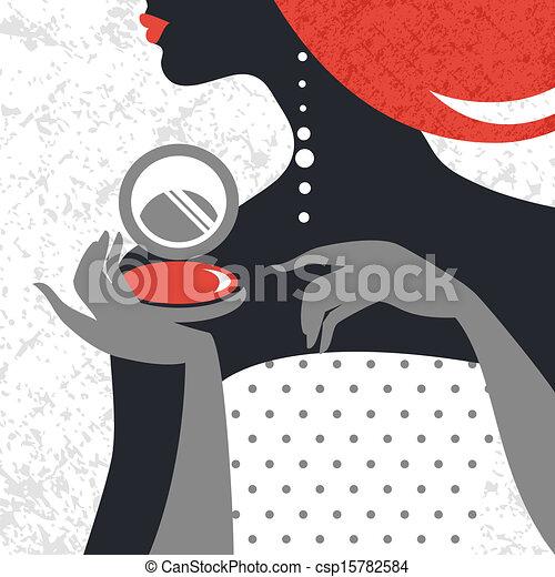 Beautiful fashion woman silhouette. Flat design - csp15782584