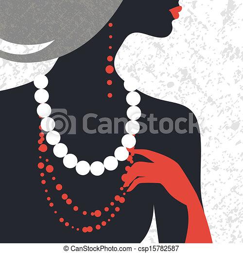 Beautiful fashion woman silhouette. Flat design - csp15782587