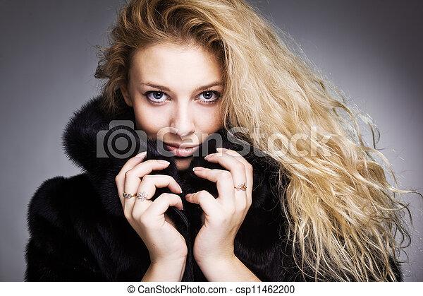 beautiful fashionable woman in black fur - csp11462200