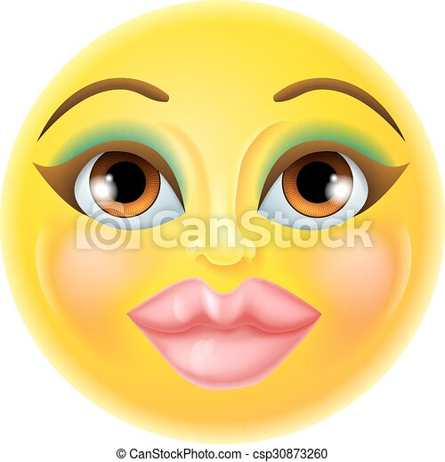 Beautiful Female Emoticon A Cartoon Beautiful Female Woman Emoji Emoticon Icon Canstock