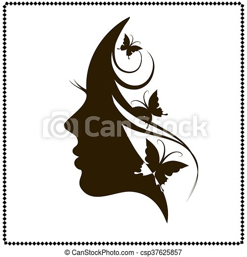 beautiful female face silhouette in profile profile of a