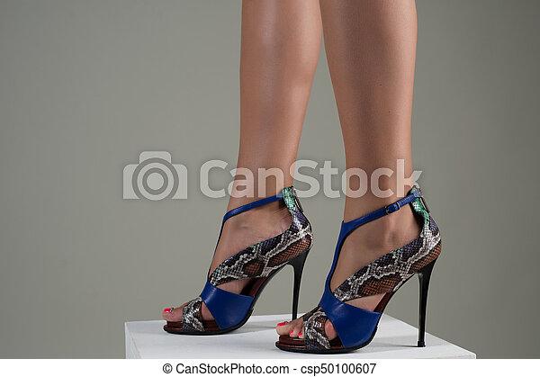 Heeled Female Feet Stylish Beautiful Ceoxbwqrde In Blue Sandals High wNOv8nym0