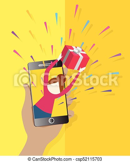 935dd65eaf2 Beautiful female giving present from smartphone flat icon. online shopping.  icons for web and mobile application. eps 10.