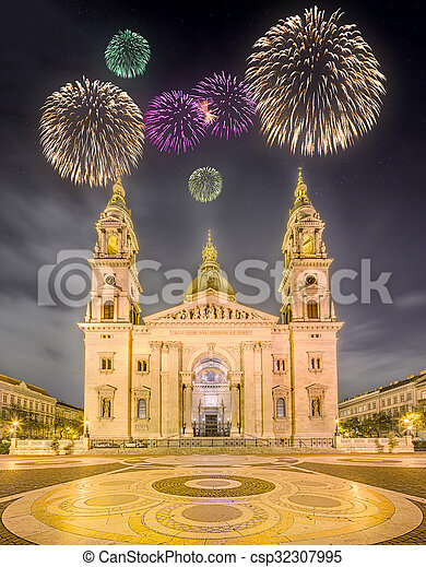 Beautiful fireworks above St. Stephen's Basilica - csp32307995