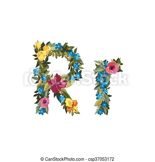 Beautiful Floral Alphabet With Flowers