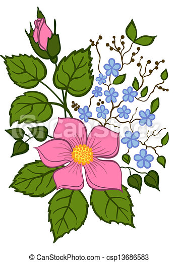 beautiful floral arrangement hand drawing on a white background - csp13686583