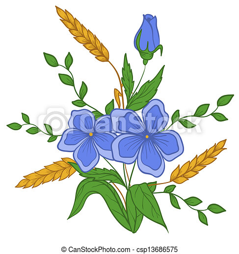 beautiful floral arrangement hand drawing on a white background - csp13686575