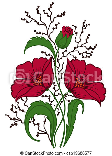 beautiful floral arrangement hand drawing on a white background - csp13686577