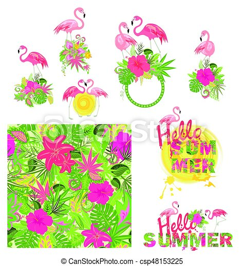 Beautiful floral design and wallpaper with exotic flowers, pink flamingo and hello summer lettering - csp48153225