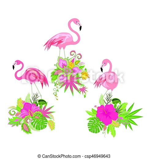 Beautiful floral design with exotic flowers and pink flamingo - csp46949643