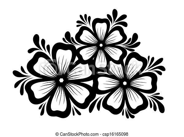 Beautiful floral element. Black-and-white flowers and leaves design element. Floral design element in retro style. - csp16165098