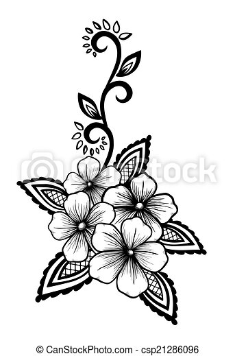 Beautiful floral element. Black-and-white flowers and leaves design element. - csp21286096