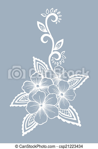 Beautiful floral element. Black-and-white flowers and leaves design element. - csp21223434