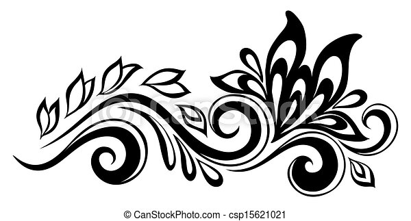 Beautiful floral element. Black-and-white flowers and leaves design element. Floral design element in retro style. - csp15621021