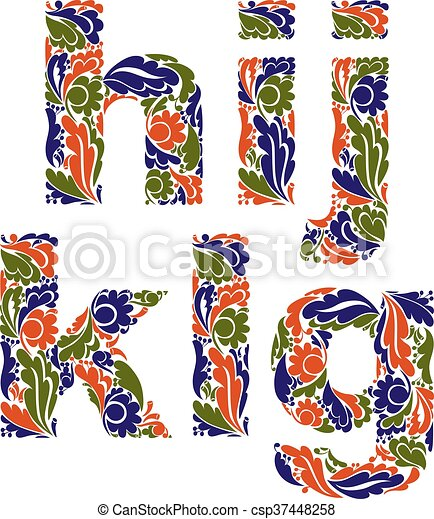 Beautiful Floral Font Decorative Letters With Vintage Pattern G H