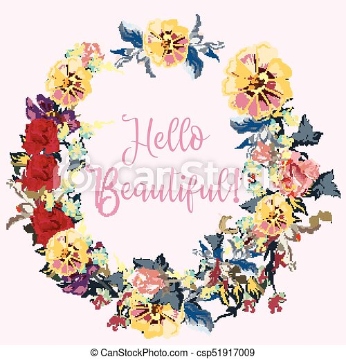 Beautiful floral frame design with signature hello beautiful - csp51917009
