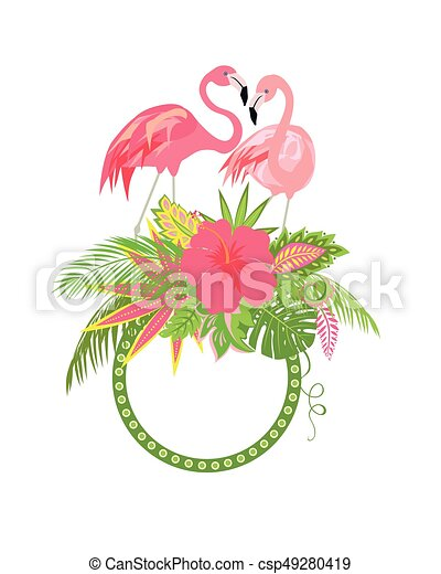 Beautiful floral frame with exotic flowers tropical leaves and pair beautiful floral frame with exotic flowers tropical leaves and pair of lovely pink flamingo for vector mightylinksfo