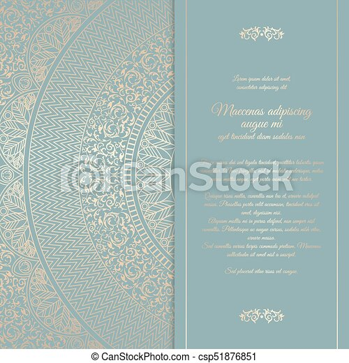 Beautiful floral square invitation card with golden round pattern beautiful floral square invitation card with golden round pattern vintage wedding cover design template vector mandala background with message space stopboris Gallery