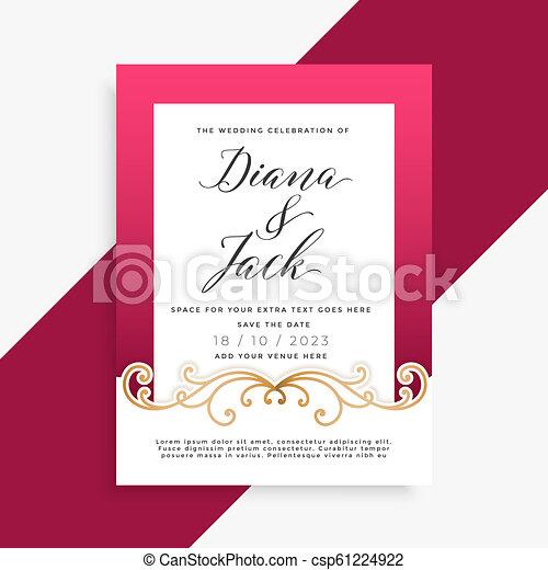 beautiful floral wedding card design - csp61224922