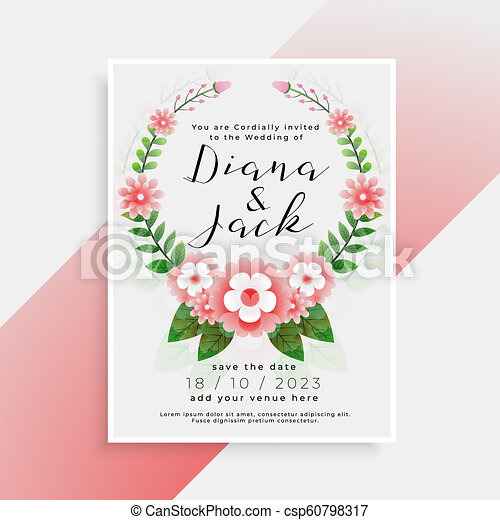 beautiful floral wedding card invitation design - csp60798317