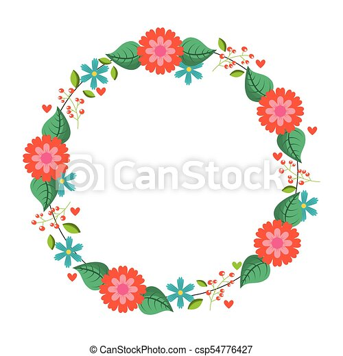 Beautiful floral wreath with spring flowers leaves vector vector beautiful floral wreath with spring flowers leaves csp54776427 mightylinksfo