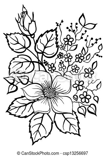 beautiful flower arrangement, a black outline on a white background - csp13256697