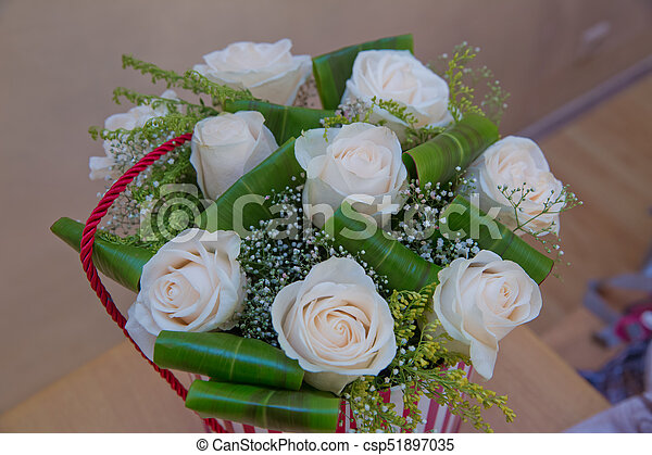 Beautiful Flower Bouquet Of White Roses In Big Round Red Hat Box