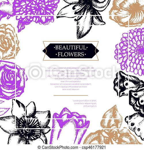 Beautiful Flowers Color Hand Drawn Composite Flyer Beautiful