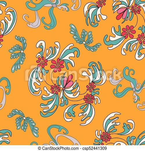 beautiful flowers on an orange background seamless pattern - csp52441309