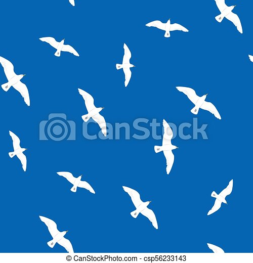 Beautiful flying seagulls in the blue sky seamless pattern - csp56233143