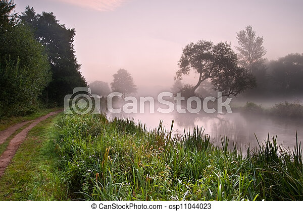 Beautiful foggy sunrise landscape over river with trees and sunb - csp11044023
