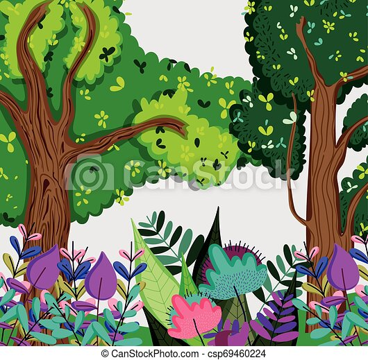 colored forest drawing