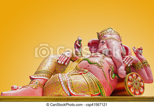 Beautiful Ganesh statue on blue sky at wat saman temple in Prachinburi province of thailand, Is highly respected by the people of Asia - csp41567121