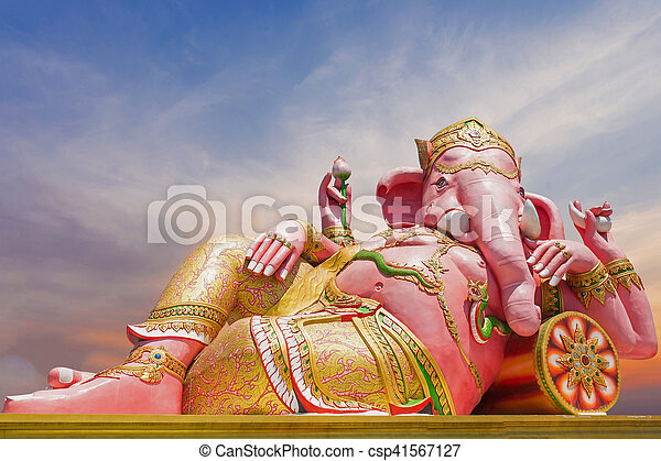 Beautiful Ganesh statue on blue sky at wat saman temple in Prachinburi province of thailand, Is highly respected by the people of Asia - csp41567127