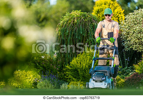 Beautiful Garden Backyard Grass Mowing - csp83763719