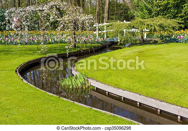 Beautiful garden in spring. Springtime - csp35096298